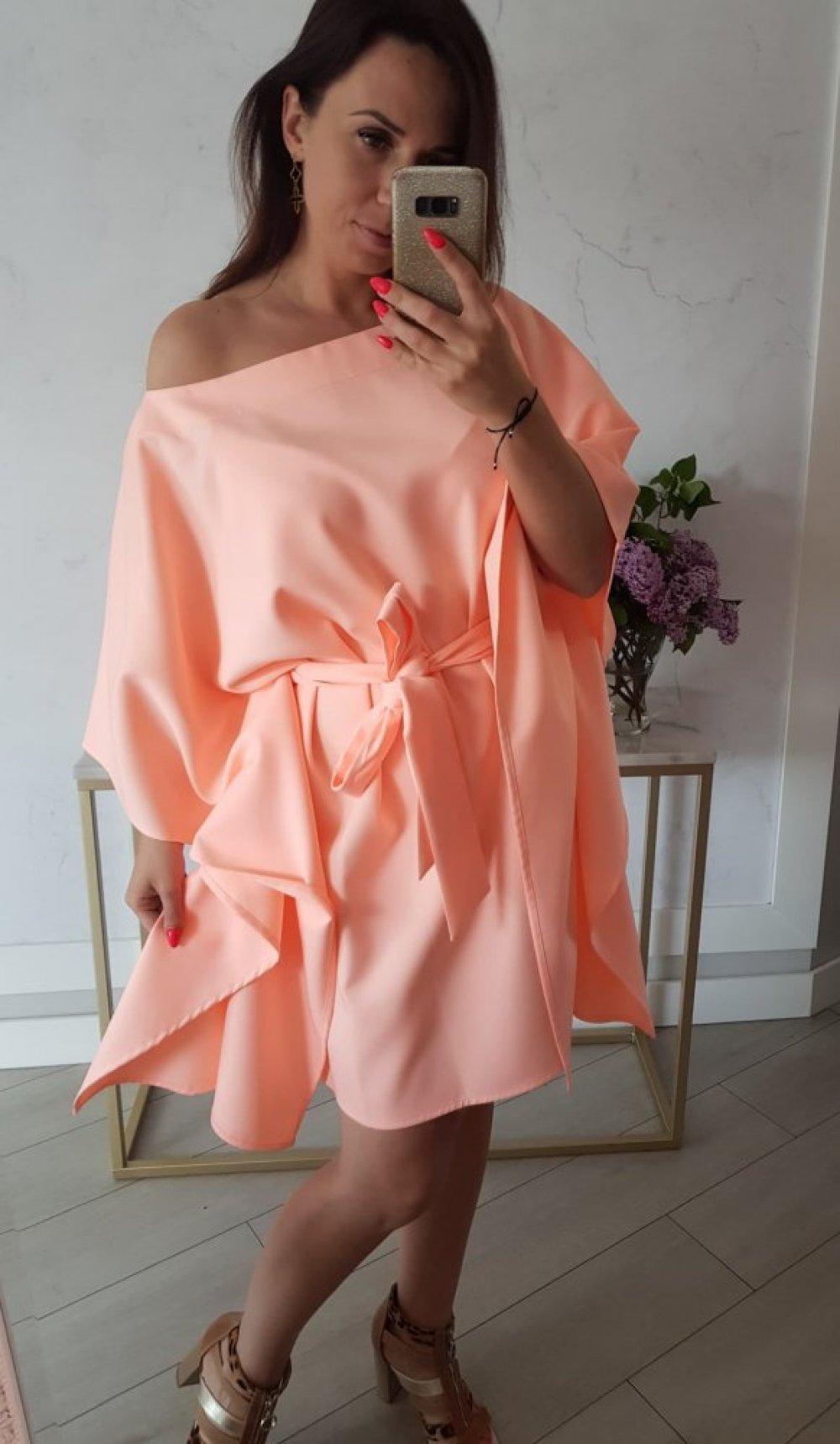 Sukienka Kimono Opalizująca Morela