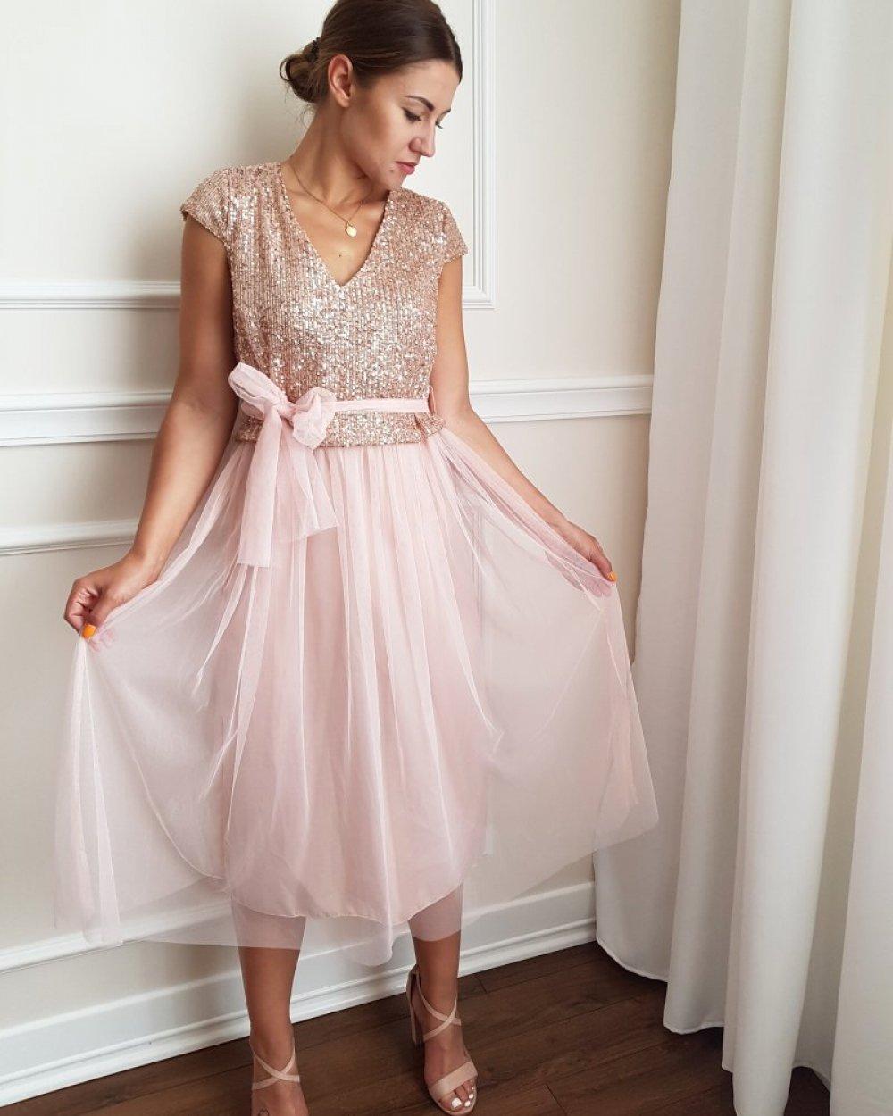 Sukienka Cekiny Tiulowa