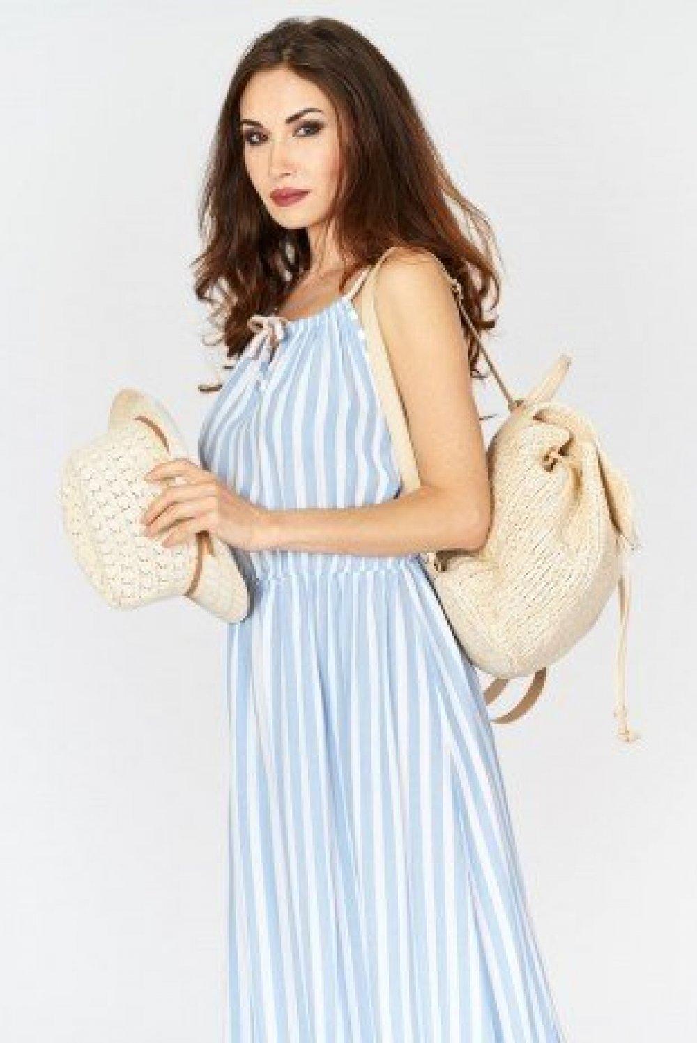 Sukienka Maxi w Paski Błękitna