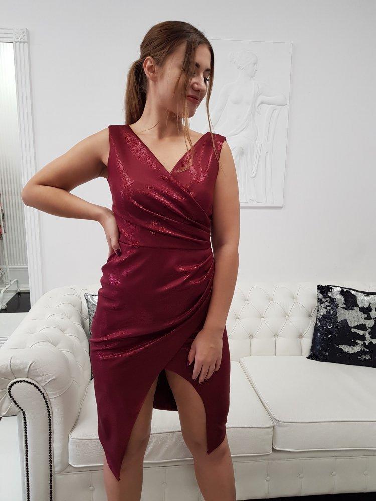 Sukienka Laura Bordo Połysk