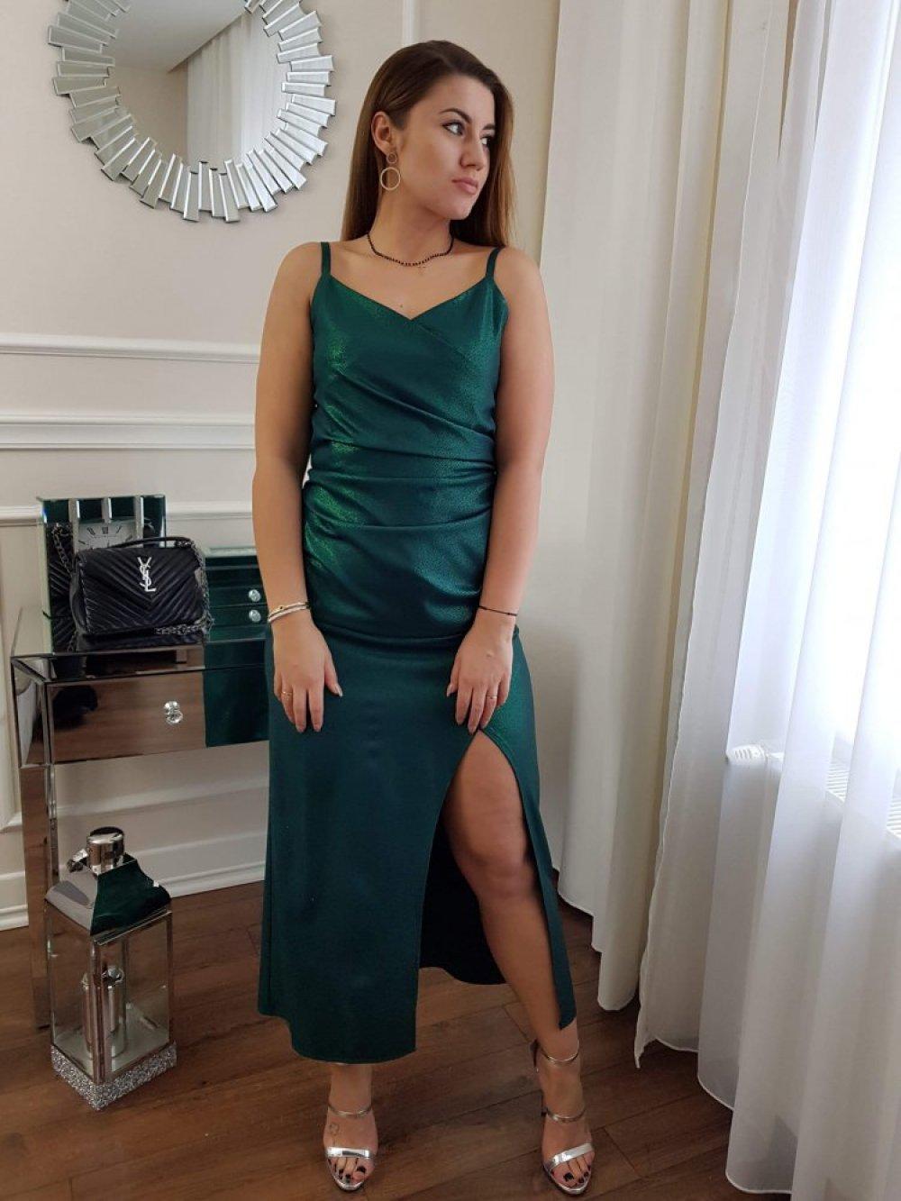 Sukienka na Ramiączkach Zielona z Połyskiem