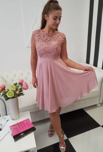 Sukienka Gipiura Krótka Brudny Róż Plus Size