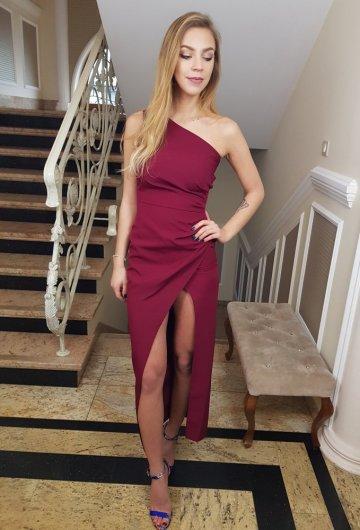 Sukienka Asymetria Bordo 1