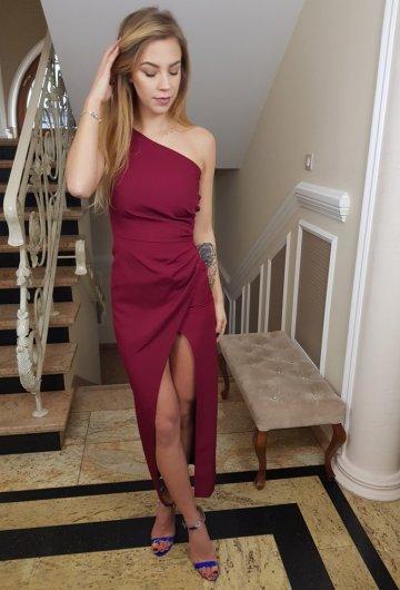 Sukienka Asymetria Bordo 6