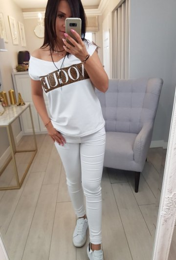 Bluzka V-neck Vogue Biała 4