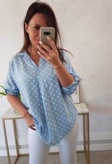 Koszula Grochy Błękitna