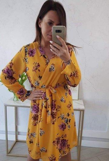 Sukienka W Kwiaty Musztarda