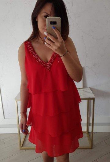 Sukienka Karo Czerwona