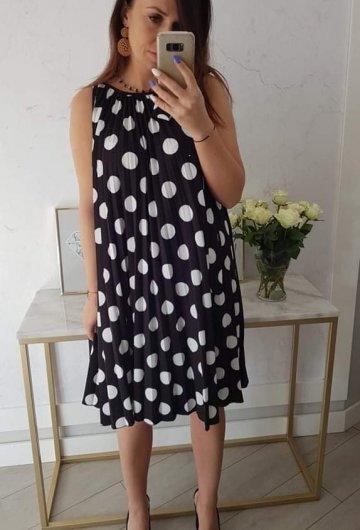 Sukienka Plisowana Grochy