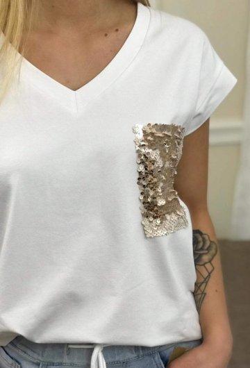 T-shirt Biały Złota Kieszonka + Size