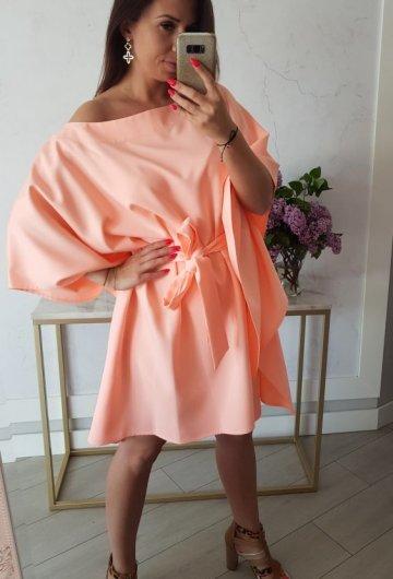 Sukienka Kimono Opalizująca Morela 3