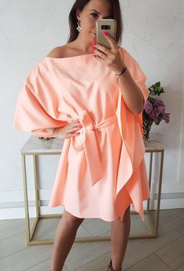 Sukienka Kimono Opalizująca Morela 5