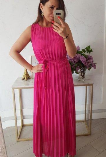 Sukienka Maxi Plisowana Amarant