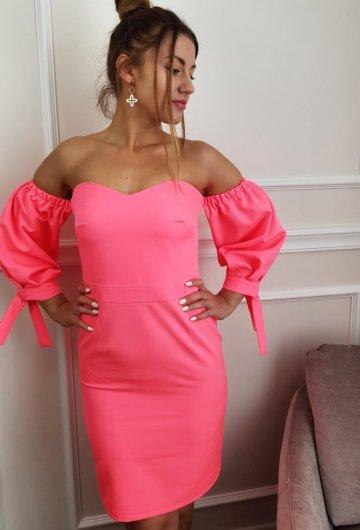 Sukienka Hiszpanka Neonowy Koral