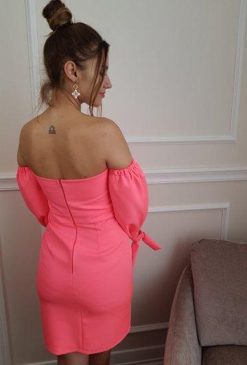 Sukienka Hiszpanka Neonowy Koral 2