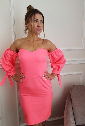 Sukienka Hiszpanka Neonowy Koral 4
