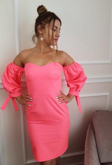 Sukienka Hiszpanka Neonowy Koral 5