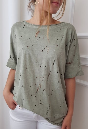 T-shirt Ripped Oversize Khaki