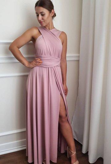 Sukienka wiązana na różne sposoby Brudny Róż