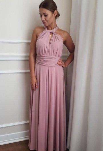 Sukienka wiązana na różne sposoby Brudny Róż 1