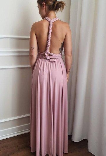 Sukienka wiązana na różne sposoby Brudny Róż 2