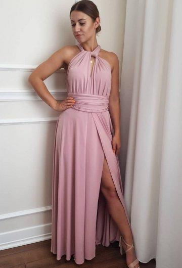 Sukienka wiązana na różne sposoby Brudny Róż 4