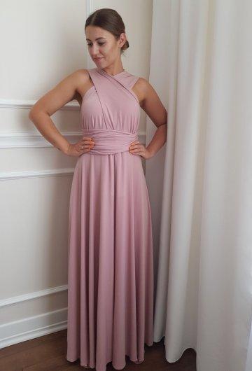 Sukienka wiązana na różne sposoby Brudny Róż 7