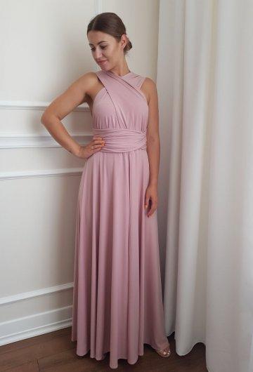 Sukienka wiązana na różne sposoby Brudny Róż 9