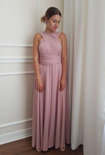 Sukienka wiązana na różne sposoby Brudny Róż 10