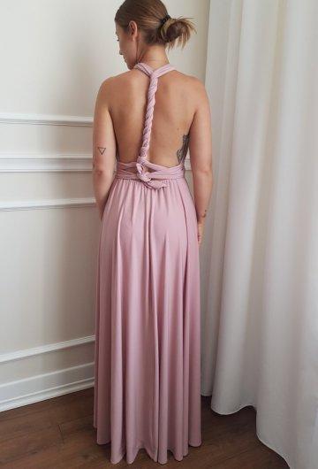 Sukienka wiązana na różne sposoby Brudny Róż 11