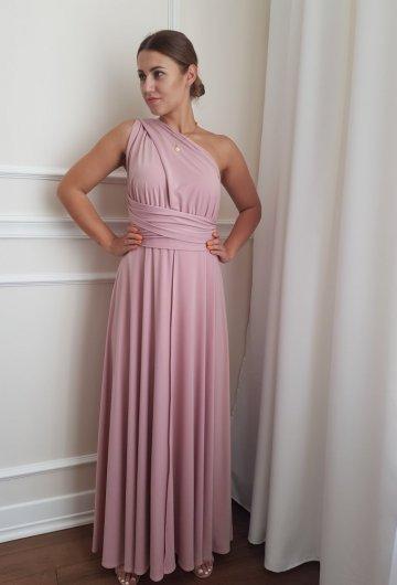 Sukienka wiązana na różne sposoby Brudny Róż 12