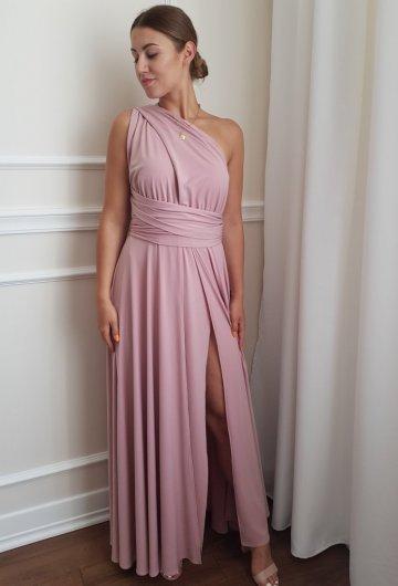 Sukienka wiązana na różne sposoby Brudny Róż 13