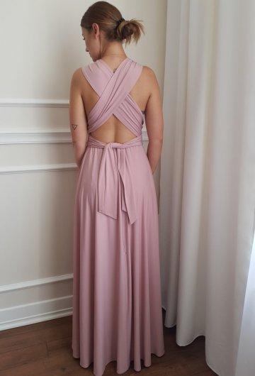 Sukienka wiązana na różne sposoby Brudny Róż 14