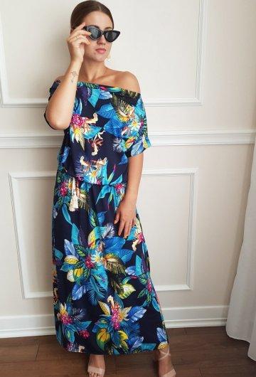 Sukienka Escandelle z rękawem Granatowa