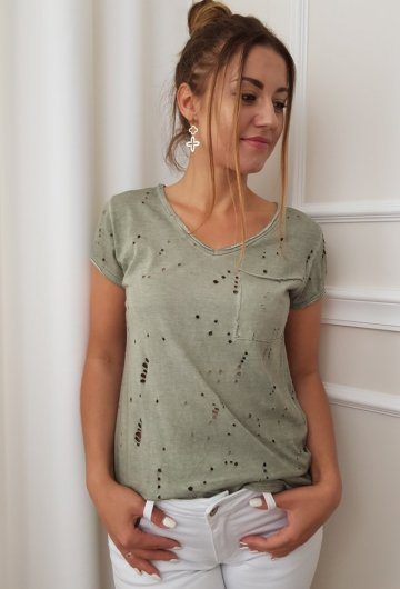 T-shirt Ripped Khaki