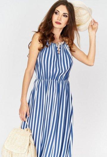 Sukienka Maxi w Paski Niebieska