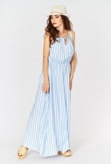 Sukienka Maxi w Paski Błękitna 1
