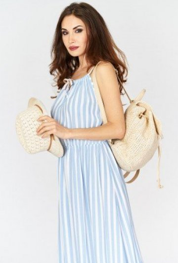 Sukienka Maxi w Paski Błękitna 2
