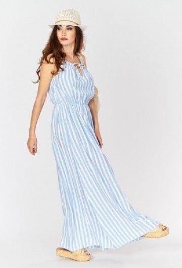 Sukienka Maxi w Paski Błękitna 3