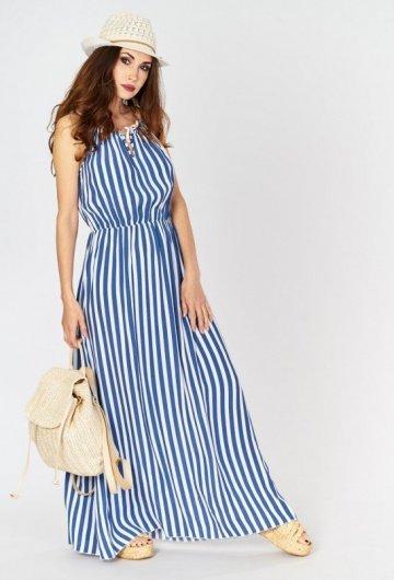 Sukienka Maxi w Paski Niebieska 2