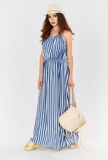 Sukienka Maxi w Paski Niebieska 4