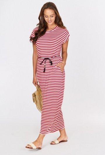 Długa Sukienka z Paskiem Czerwona 2