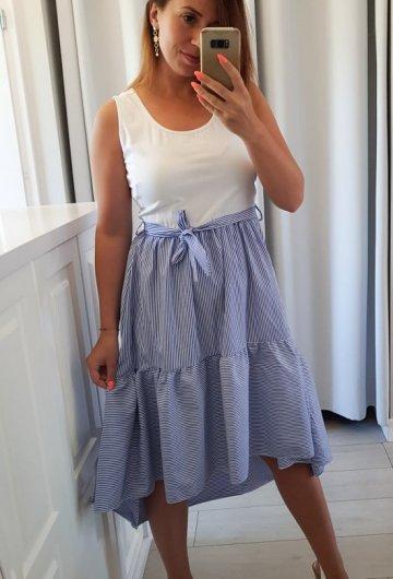 Sukienka w Paski z Wiązaniem Niebieska