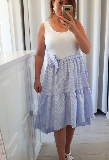 Sukienka w Paski z Wiązaniem Błękitna