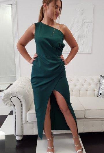 Sukienka Asymetria Butelkowa Zieleń