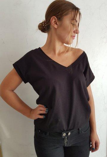 T-shirt Basic Lalu Czarny