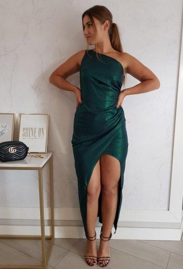 Sukienka Asymetria Zielona Połyskująca