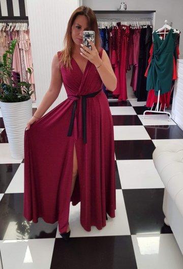 Sukienka Salma Bordo z Brokatem