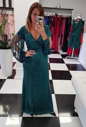 Sukienka Boom Maxi Butelkowa Zieleń