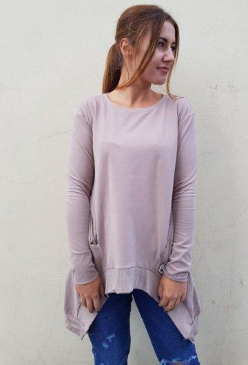 Bluza Asymetria Beżowa